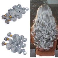 achat en gros de trame tisser des extensions de cheveux-La trame 100% brésilienne humaine de cheveux trame 3 paquets 9A les cheveux gris non transformés d'onde de corps tissent des extensions de trame de cheveux ondulées gris