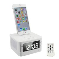 al por mayor estación de la música de la música del iphone-T7 8 Pin de iluminación de audio portátil de música Bluetooth inalámbrico altavoz Fm radio reloj despertador Charger Dock Station para iPhone 6 6s Plus SE 5S 7