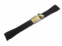 best metal tone - mm New Black Silicone Rubber Watch Band Curved End Intermediated Gold Two Tone Deployment Clasp Metal Steel Buckle Best Gift