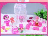 Wholesale Freeshipping17pcs Fashion Toy Doll Accessories Cute Kylie Doll Furniture Sets Toy Doll Bed Chair Sofa Bike Doll