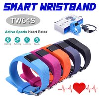 Wholesale TW64S Heart Rate Pulse SmartBand Inteligente Banda Pulse Measure Smart Band Sport Smart Wristband Health Fitness Tracker Reatil Package DHL