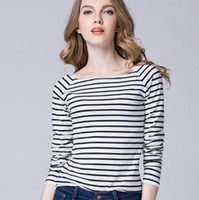 Wholesale 2016 High Quality Cotton Loose Women White Striped T Shirt Plus Size Fashion Summer Brief Tees streetwear t shirts