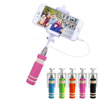 Wholesale Mini Selfie Stick Wired Groove Monopod Built in Shutter Extendable Selfie Stick For iPhone Samsung Any Phones Camera with retail pacakge