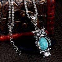 Vente en gros Lady Vintage Collier Trendy Cute Owl Collier Bijoux Turquoise Pour Cadeaux Long Pendentif
