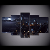 Wholesale 5 Set HD Printed Harry Potter School Castle Painting Canvas Print room decor print poster picture canvas ny