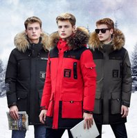 Wholesale Stylish Sports Jackets - Stylish Warm Men's Parkas Stand Collar Thick Down Jacket Hooded Fur Men Pure Color Winter Sports Outwear With Pockets