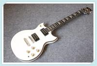Tienda personalizada Johnna A YMH SG Doble Cutaway Guitarra Eléctrica Blanco Acabado Abalone Cuerpo Push Push / Pull Pot Gold Hardware Ebony Diapasón