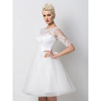 Wholesale Sweety White Short Graduation Dresses A Line Illusion Half Sleeve Bow Sash Beading Empire Lace Mini Graduation Gowns