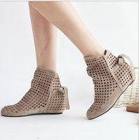 Wholesale Big Size Women s Summer Boots Flat Low Hidden Wedges Cutout Ankle Boots Ladies Dress Casual Shoes Hot sale Cute Flock P26