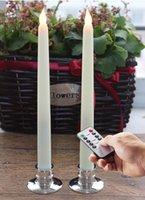 10 Llave de control remoto Batería Flickerl LED Taper Velas Juego de marfil de 2 con temporizador