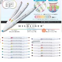 Wholesale Pc Zebra MildLiner Highlighter Marker Double Sided Round Toe Oblique Mild Colors for Choose Office and School Supply