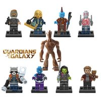 Plastics Unisex > 3 years old 2017 9pcs Super Heroes The Galaxy Star-Lord Nebula Yondu Drax the Destryer Rocket Racoon Big Groot Building Blocks Kids Toy festival gift