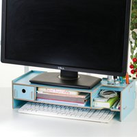 Wholesale YUMU LCD Computer Monitors Increased Double decker Desktop Laptop Keyboard Base Support Bracket Increased Wooden Frame Chassis With Storage