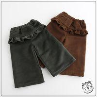 Wholesale 2017 Baby Girls Woolen Ruffle Pants Kids Girls Casual Loose Flare pants Babies Fashion Autumn Winter Christmas wide leg Pants