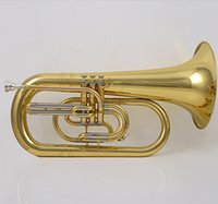 Wholesale Brass Instruments Baritone Trumpet professional Gold lacquer tone musical instruments Bb Brass Cornet trompete Trumpeter Bugle