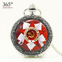 achat en gros de poche montre à quartz aigle-Vintage Bronze Quartz Pocket Watch Russie Soviétique Sickle Hammer Train Eagle Collier Relogio De Bolso