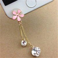 al por mayor tapón de color rosa iphone-Frente Anti Dust Plug Pink poco margarita cristal colgante para iPhone6,6S Para Aamsung y todos los accesorios de teléfonos móviles