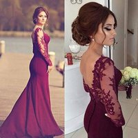 bamboo silk carpet - Burgundy Long Elegant Evening Dresses Boat Neck Lace Long Sleeves Stretch Satin Mermaid Women Formal Evening Gowns