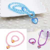 Wholesale Elsa sofia anna sleep beauty Necklace bracelet Baby Girls jewelry necklace Children beads accessories princess new style birthday gift