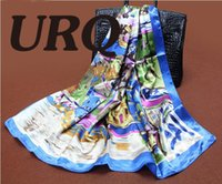 S9A9141 artist scarves - PC cm Elegant style famous artist oil painting printed square satin silk scarves bandana S9A9141