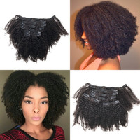 cheveux humains malaisiens américains achat en gros de-Afro-Américain Afro Kinky Curly Clip In Human Hair Extensions 7Pc / lot Malaisie Clip Ins FDSHINE