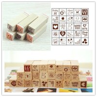 Wholesale Wooden Rubber Stamp Lovely Diary Pattern Card Cartoon Stamper