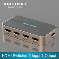 Acheter Hdmi vidéo sans fil-Vention Video Commutateur HDMI Switcher 5 en 1 avec IR sans fil Remote HDMI Splitter Box Switcher pour PS3 / 4 Xbox PC HDTV 1080P