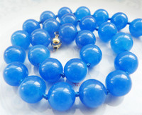 aa sapphire - gt gt gt gt NEW Beautiful MM Blue Sapphire Gemstone Round Beads Necklace K Gold Clasp AA