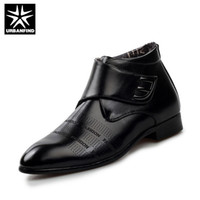 Half Boots add shoe strap - URBANFIND Add Plush Men Ankle Boots Fashion Leather Shoes EU Black White Leather Decor Wedding Business Shoes