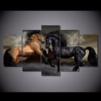 Cheap More Panel Horse painting Best Digital printing Impressionist Wall Art poster painting
