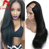 Wholesale Silk Straight UPart Human Hair Wig Glueless Virgin Malaysian Remy Human Hair Upart Wig A Unprocessed Middle Part Lace Wig Upart