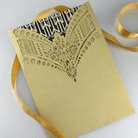 art deco wedding invitations - Newest Newmengxing luxury gold color Wedding Invitation Laser cut pocket Art Deco Necklace wedding invitations