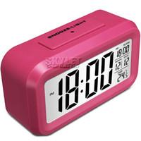 alarm low temperature - Digital Alarm Clock LED Screen Clock Low Light Sensor Technology Temperature Display Electronic Desktop Digital Clocks with Retail Box