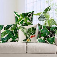 Wholesale Tropical Plants Cushion Covers Green Leaves Hibiscus Flower Pillow Cover Sofa Seat Decorative Linen Cotton Pillow Case