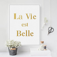 Digital printing belle french - novelty gift French letters La Vie est Belle words pattern home cafe hotel decorative hanging poster photo picture