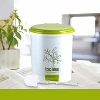 Wholesale Home Step Trash Bin Toilet Brush Set Stainless Steel L Green