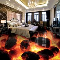 bedroom floor tile - Custom D Flooring Murals D Stereo Stones Flame Bedroom Living Room Self adhesive Waterproof D Floor Tiles Fresco Wallpaper