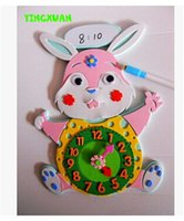 art mathematics - 1 piece Cartoon DIY Handmade learning Clocks Kits Puzzle Rabbit Cow Kids Arts Crafts Educational Gift Toys years old