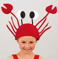 Wholesale 2016 Christmas Decoration Red Crab Christmas hats Adults Children Halloween funny hats For Home Dinner Party Or Gift