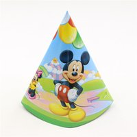 Wholesale birthday party supplies cartoon paper hat baby kids children baby party decoration caps Mickey theme