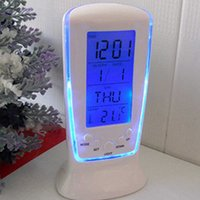 Wholesale New arrival LED Digital Alarm Clock with Blue Backlight Electronic Calendar Thermometer Gift