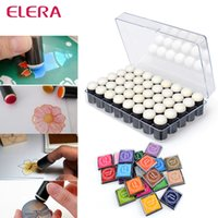 Wholesale ELERA Sponge Finger Daubers With Box Finger Painting Color Inkpad Finger Print Painting Painting Drawing Candy Color