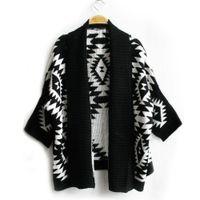 bat wing sweater - Spring Autumn Cardigan Fashion Women Sweater Pope Floral Women Big Bat Wing Casual Knitting Sweater Women QY092