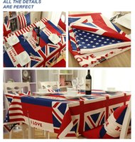 Wholesale Hot Sale Home Collections Classic Restaurant Tablecloth Cotton Fabric Table Cloth Britain America Flag Tablecloth Assorted Size