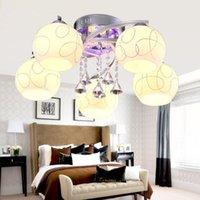 Wholesale Modern Nordic Round Crystal LED Ceiling Light Living Room Ceiling Lamp Kitchen Light Fixtures luminaria avize Home Lighting
