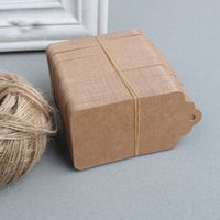Wholesale x9cm Blank price tag Kraft paper Gift tag with hemp cords DIY brown paper kraft label paper TAGGING H1242