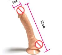 al por mayor pene artificial-Dildo enormes de 10 pulgadas consoladores realistas juguetes sexuales para la mujer pene artificial con lechón