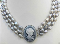 avatar beautiful - Hot Sale beautiful Popular new ROWS SILVER GRAY CULTURED PEARL NECKLACE EMBOSSED QUEEN S AVATAR CLASP