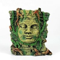 aquarium decorations ruins - Pet Aquarium Decoration Maya s Ancient Ruin Stone Head Wall Ornament