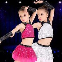 Wholesale Girls sequins modern jazz dance performance clothing summer children s jazz dance dress yarn dress